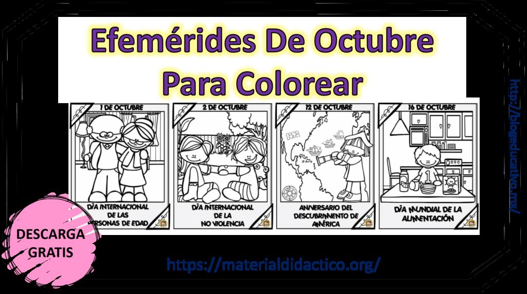 Efemérides De Octubre Para Colorear Blog Educativo